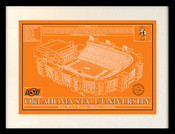 Oklahoma State Cowboys - Boone Pickens Stadium School Colors Blueprint Art