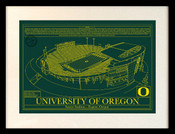 Oregon Ducks - Autzen Stadium School Colors Blueprint Art
