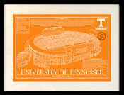 Tennessee Volunteers - Neyland Stadium School Colors Blueprint Art