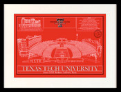 Texas Tech Red Raiders - Jones AT&T Stadium School Colors Blueprint Art