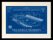 Villanova Wildcats - Villanova Stadium School Colors Blueprint Art