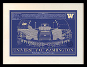 Washington Huskies - Husky Stadium School Colors Blueprint Art