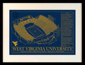 West Virginia Mountaineers - Mountaineer Field School Colors Blueprint Art