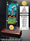 Super Bowl 51 Champions New England Patriots Ticket & Bronze Coin Acrylic Desk Top