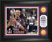 "Tom Brady ""Super Bowl 51 Trophy"" Bronze Coin Photo Mint"