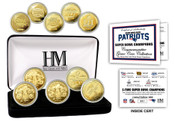 New England Patriots 5-Time Super Bowl Champions Gold Coin Set