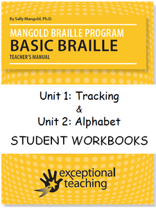 Mangold Basic Braille Program Student Workbooks Unit 1 & 2 ($95 each)