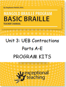 Mangold Basic Braille Program Kits, Unit 3: UEB Contractions ($89-$169)
