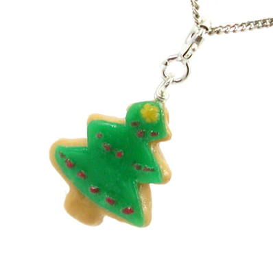 christmas tree cookie necklace by inedible jewelry