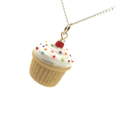 birthday vanilla cupcake necklace by inedible jewelry