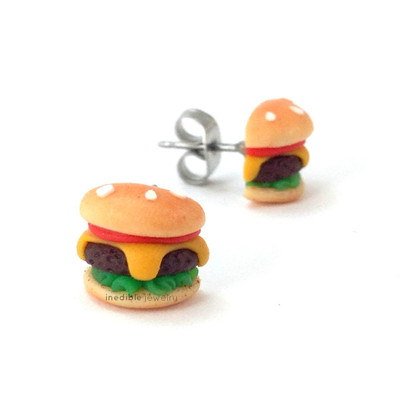 burger studs by inedible jewelry