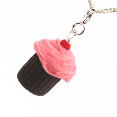 pink cherry chocolate cupcake necklace by inedible jewelry