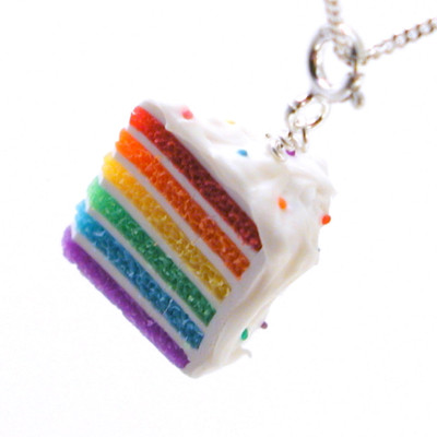 rainbow cake necklace by inedible jewelry