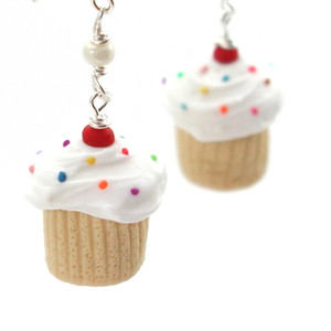 birthday vanilla cupcake earrings by inedible jewelry