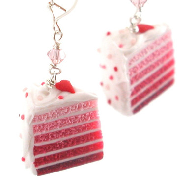 heart cake earrings by inedible jewelry