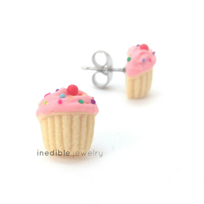 pink birthday vanilla cupcake studs by inedible jewelry
