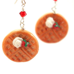 belgian waffle earrings