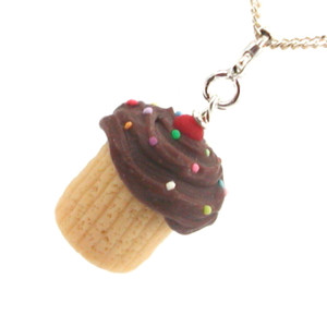 chocolate sprinkle vanilla cupcake necklace by inedible jewelry