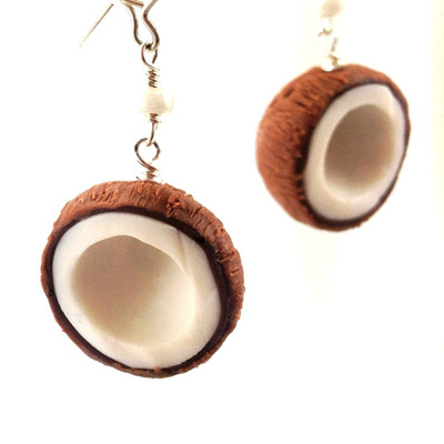 coconut earrings by inedible jewelry