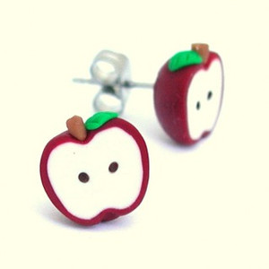 apple studs: red delicious by inedible jewelry