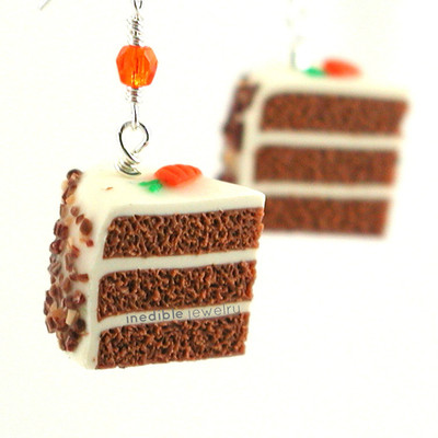 carrot cake slice earrings by inedible jewelry