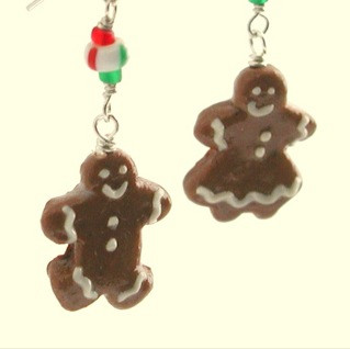 gingerbread couple earrings by inedible jewelry