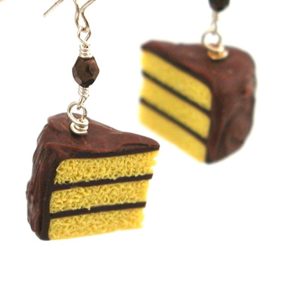 chocolate frosted yellow cake slice earrings by inedible jewelry