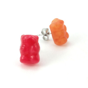 gummy bear studs by inedible jewelry