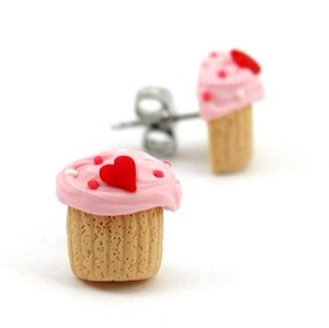 heart cupcake studs by inedible jewelry