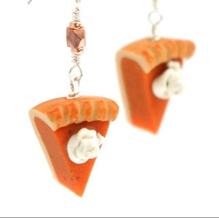 pumpkin pie slice earrings by inedible jewelry
