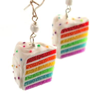 rainbow cake earrings by inedible jewelry