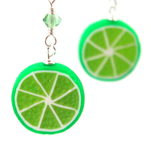 lime earrings by inedible jewelry