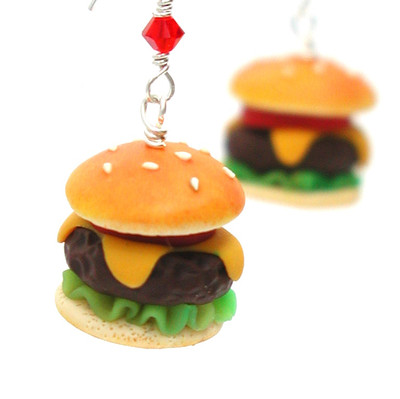 burger earrings inedible jewelry