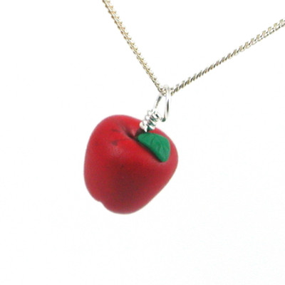 apple necklace red delicious by inedible jewelry