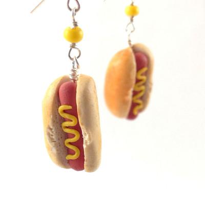 hot dog earrings by inedible jewelry