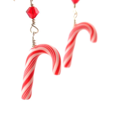 candy cane earrings by inedible jewelry