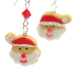 Santa cookie earrings by inedible jewelry