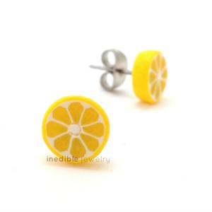 lemon studs by inedible jewelry