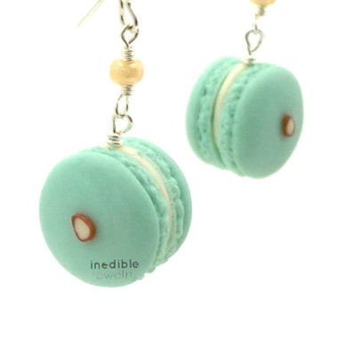 almond macaron earrings by inedible jewelry