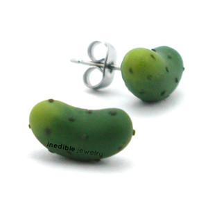 pickle studs by inedible jewelry