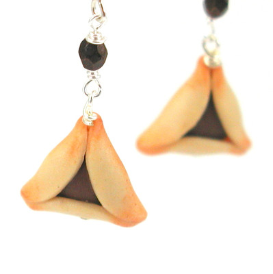 chocolate hamantaschen earrings by inedible jewelry