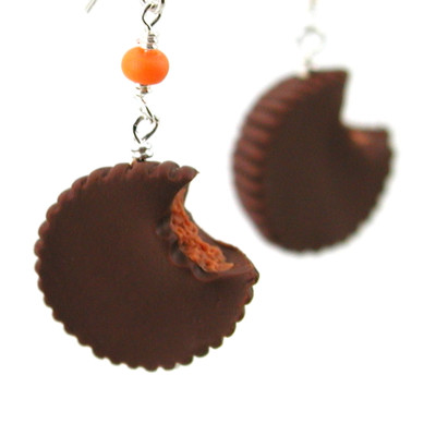 peanut butter cup earrings by inedible jewelry