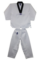 Ribbed Taekwondo Uniform Black V-Neck