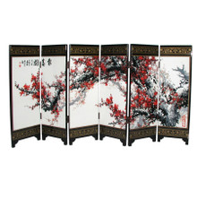 Chinese Folding Table Screen - Plum Blossom  - 24cm Tall - Gift Box