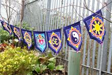 Love in the Centre - Seven Batik Flags - 30cm x 24cm - Bali Batik