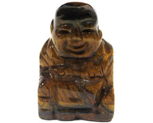 Gemstone Buddha - Tiger Eye - Hand Carved - Velvet Gift Pouch