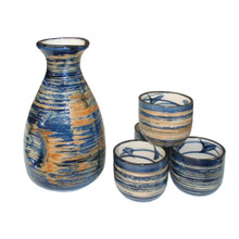 Sake Set with Blue Swirls Pattern - Ceramic Flask and Cups - Boxed