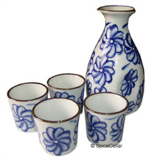 Sake Set with Blue Floral Pattern - Ceramic Flask and Cups - Boxed