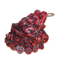 Three Legged Money Toad - Large 12cm - Red Resin - Feng Shui