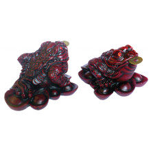Three Legged Money Toad - Small 8cm - Red Resin - Feng Shui